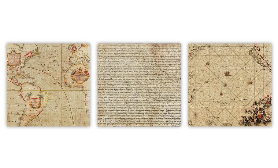 שלישית שרטוטי מפות וטקסטים עתיקים מודפסים על לוח עץ במידה 35/35