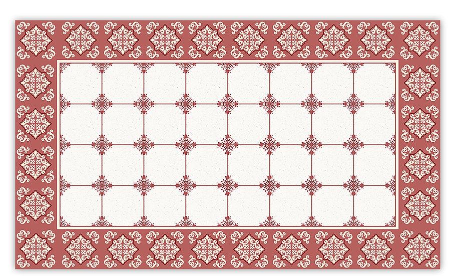 William - Vinyl Floor Mat - Red classic tiles pattern
