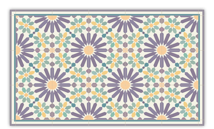 Marrakesh - Vinyl Floor Mat - Purple and yellow Moroccantiles pattern