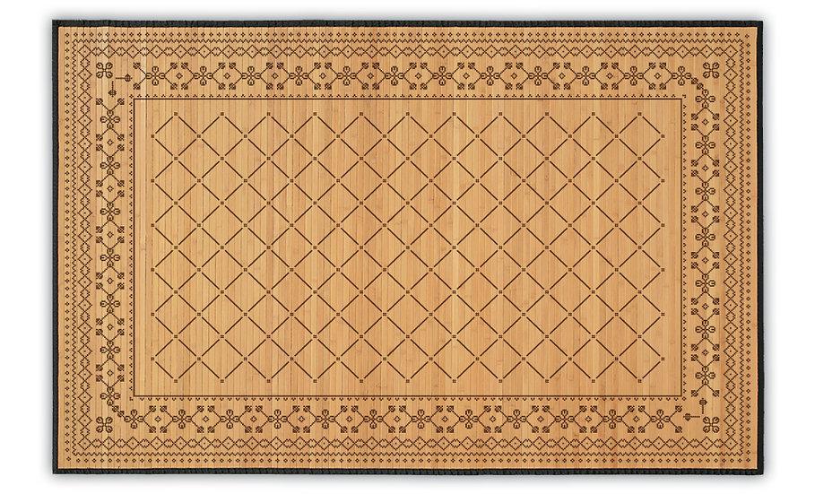 Sofia - Bamboo Mat - Brown ethnic pattern
