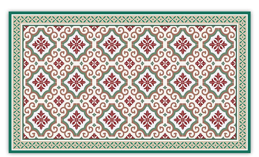 Clasico - Vinyl Floor Mat - Green Spanish tiles pattern