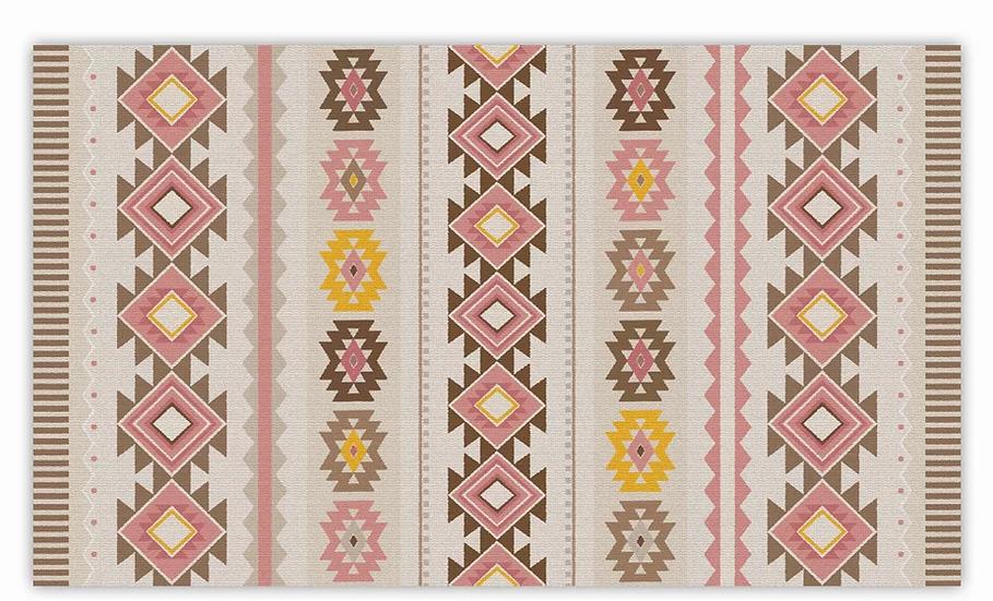Noya - Vinyl Floor Mat - Pink classic ethnic pattern