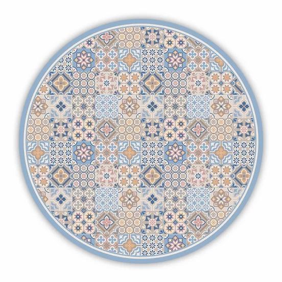 Round Retro - Vinyl Floor Mat - Blue mixed tiles pattern