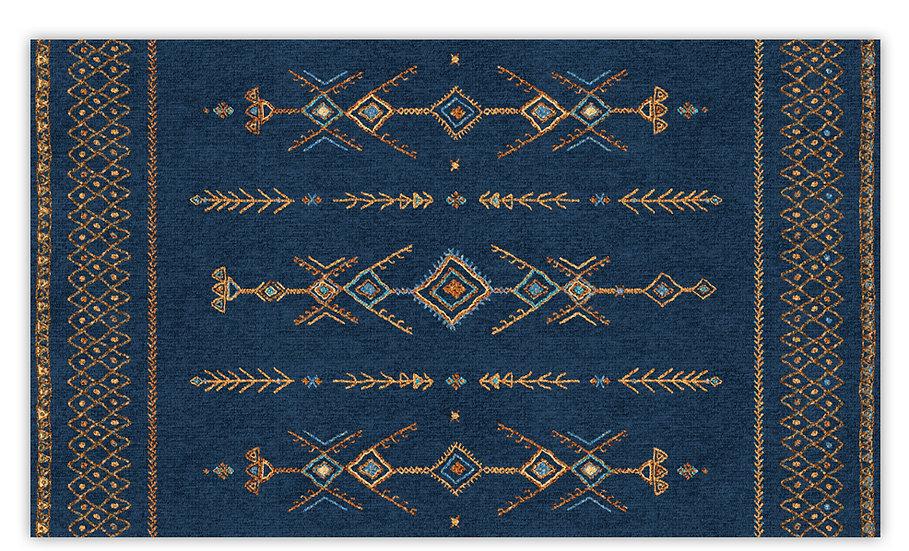 Tenerife - Vinyl Floor Mat - Blue ethnic pattern