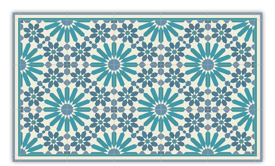 Marrakesh - Vinyl Floor Mat - Blue and turquoise  Moroccantiles pattern