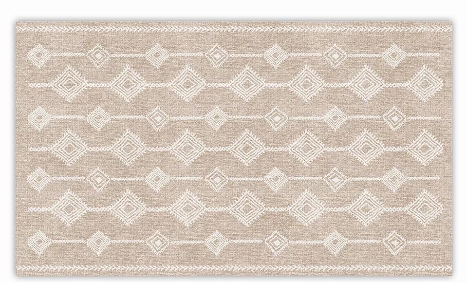 Shiraz - Vinyl Floor Mat - Beige and white ethnic pattern