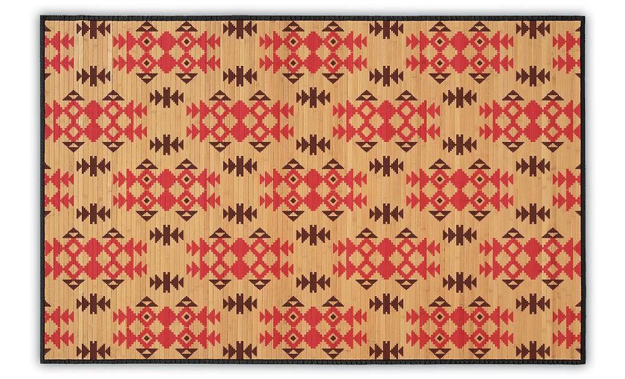 Geo - Bamboo Mat - Red ethnic pattern
