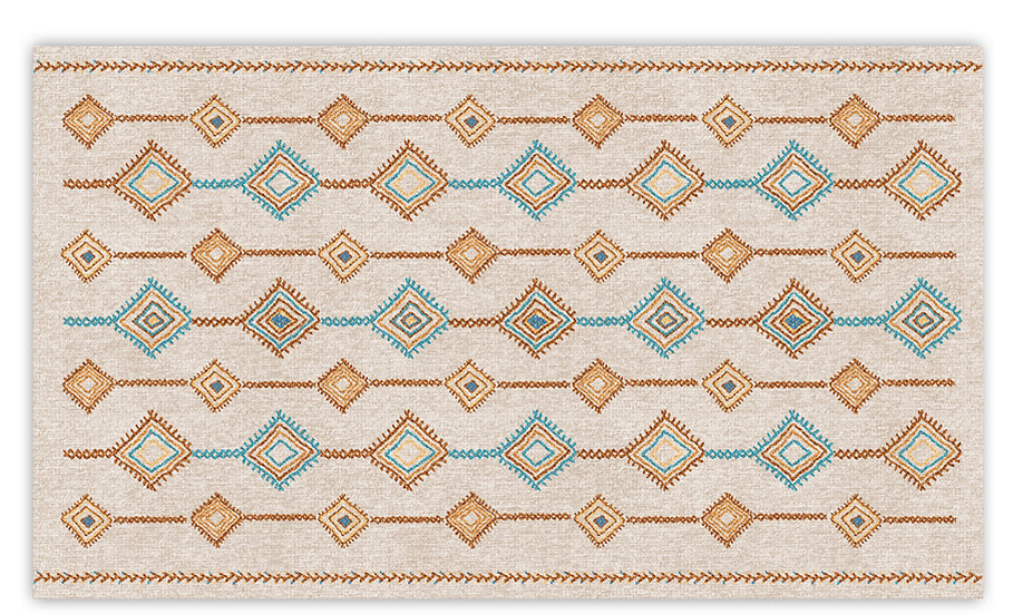 Shiraz - Vinyl Floor Mat - Colorful beige ethnic pattern