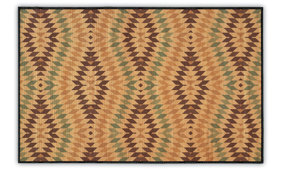 Chile - Bamboo Mat - Beige and turqouise ethnic pattern
