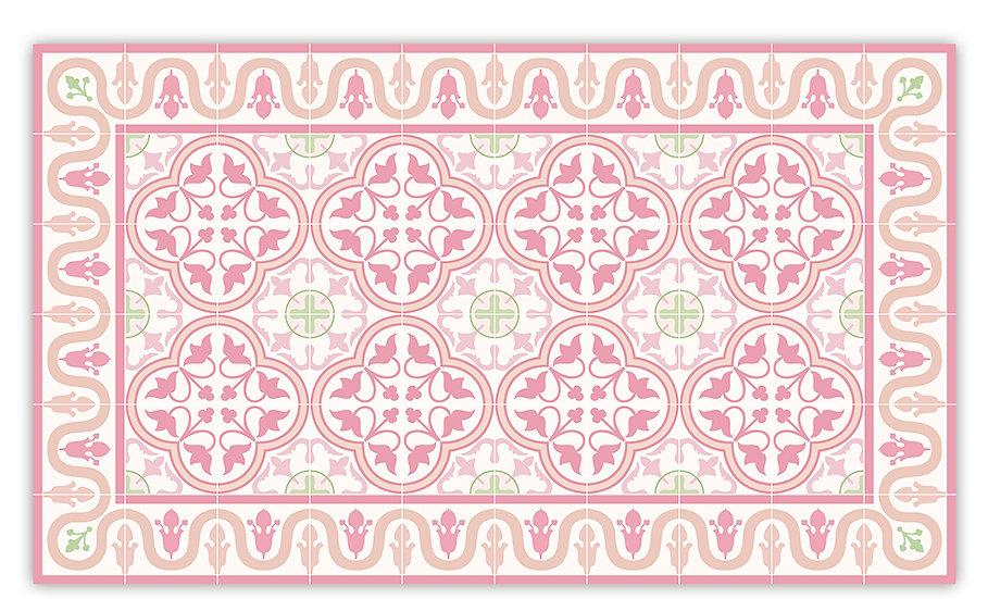 Andrea - Vinyl Floor Mat - Pink Spanish tiles pattern