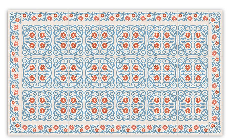 Barcelona - Vinyl Floor Mat - Blue Spanish tiles pattern