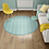 Thumbnail: Round Andrea - Vinyl Floor Mat - Aqua Spanish tiles pattern