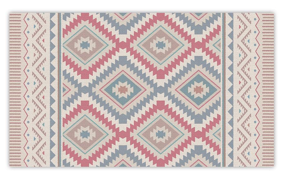 Kilim - Vinyl Floor Mat - Pink classic ethnic pattern
