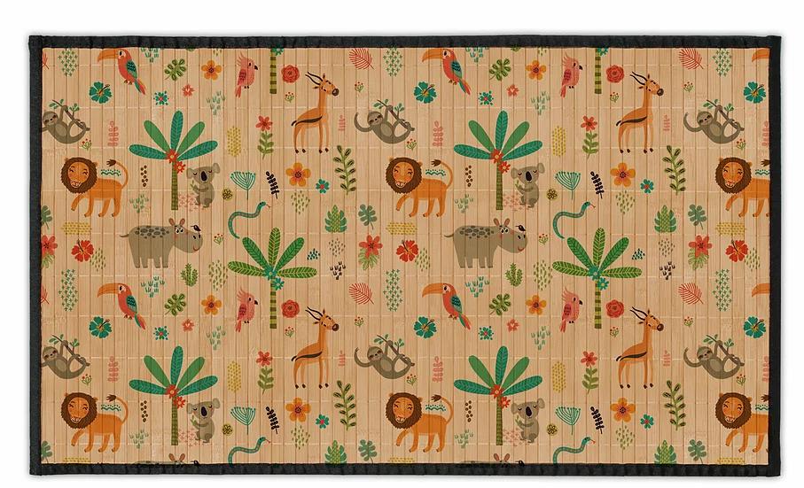 Jungle - Bamboo Mat - Colorful animals theme pattern
