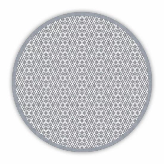 Round Margo - Vinyl Floor Mat - Gray graphic pattern
