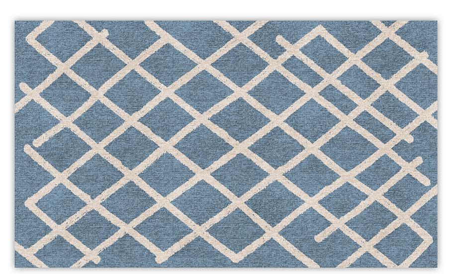 Isfahan - Vinyl Floor Mat - Blue graphic pattern