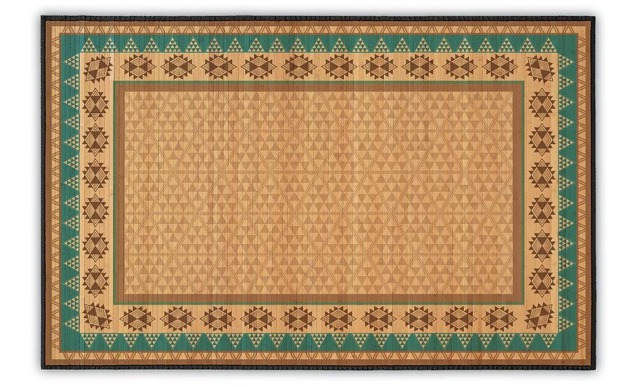 Inca - Bamboo Mat - Turquoise ethnic pattern
