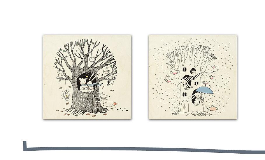 """זוג תמונות עץ ארנבים בגשם וחיות בשלכת 35/35 ס""""מ"""