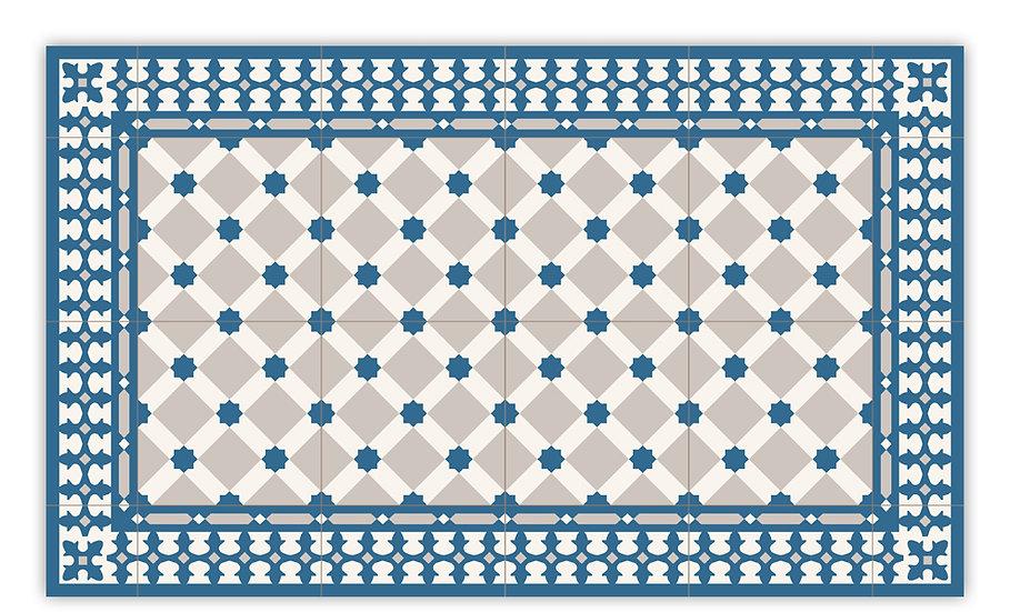 Sahara - Vinyl Floor Mat - Blue Moroccantiles pattern