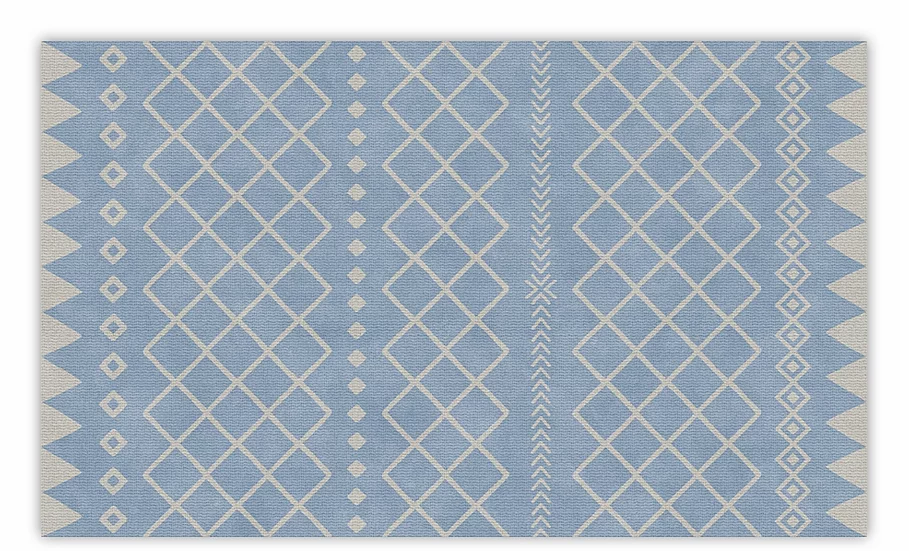 Willow - Vinyl Floor Mat - Blue graphic pattern