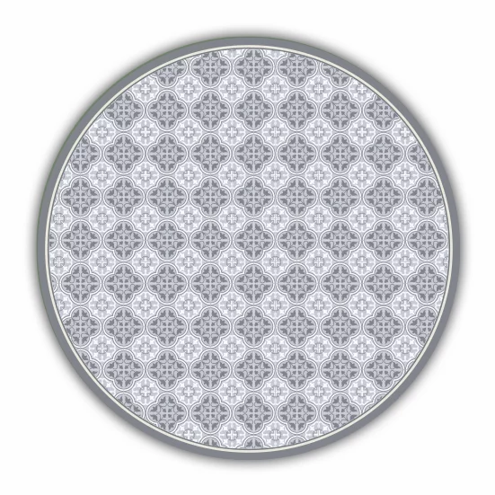 Round Andrea - Vinyl Floor Mat - Gray Spanish tiles pattern