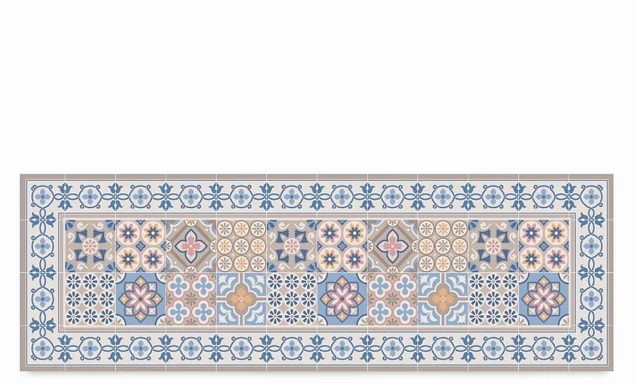Retro - Vinyl Table Runner - Blue mixed tiles pattern