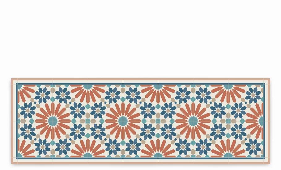 Marrakesh - Vinyl Table Runner - Orange Moroccan tiles pattern