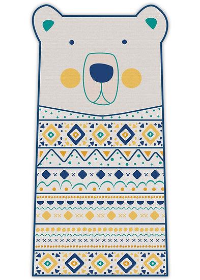 שטיח ארוך בצורת דב בגוון כחול וצהוב - במגוון מידות