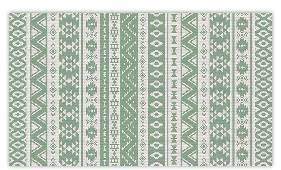 Alexander - Vinyl Floor Mat - Green classic ethnic pattern