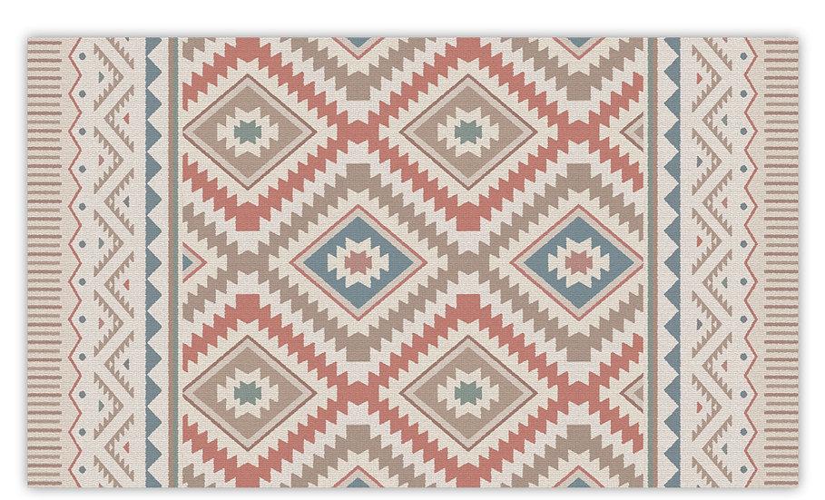 Kilim - Vinyl Floor Mat - Red classic ethnic pattern