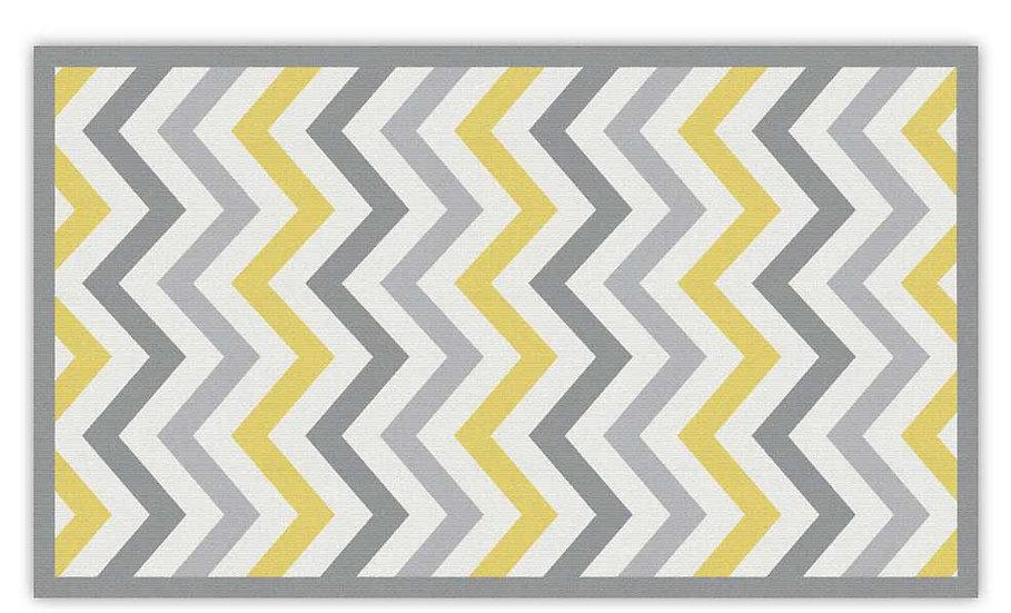 Alex - Vinyl Floor Mat - Gray and yellow graphic pattern