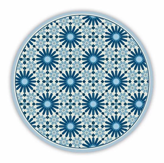 Round Marrakesh - Vinyl Floor Mat - Dark blue Moroccan tiles pattern
