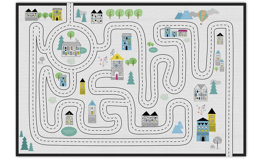 שטיח פיויסי כביש שחור לבן לילדים - במגוון מידות