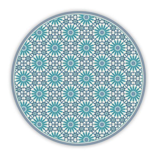פיויסי עגול מרקש כחול וטורקיז - במגוון מידות