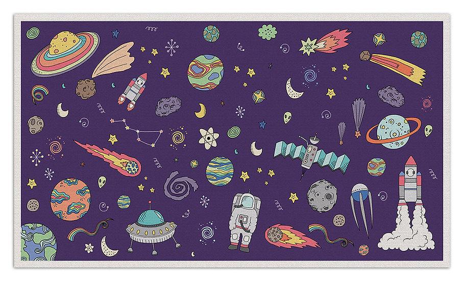 Space  - Vinyl Floor Mat - Purple cosmic theme pattern
