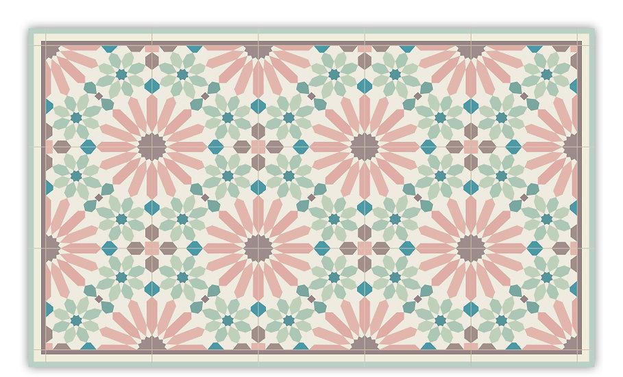 Marrakesh - Vinyl Floor Mat - Pink and green Moroccantiles pattern