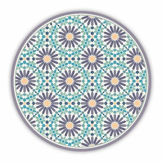 Round Marrakesh - Vinyl Floor Mat - Purple and green Moroccan tiles pattern