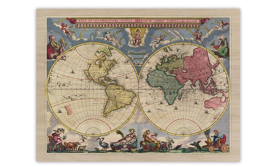 מפה עתיקה על עץ במגוון מידות - מפת העולם 1662