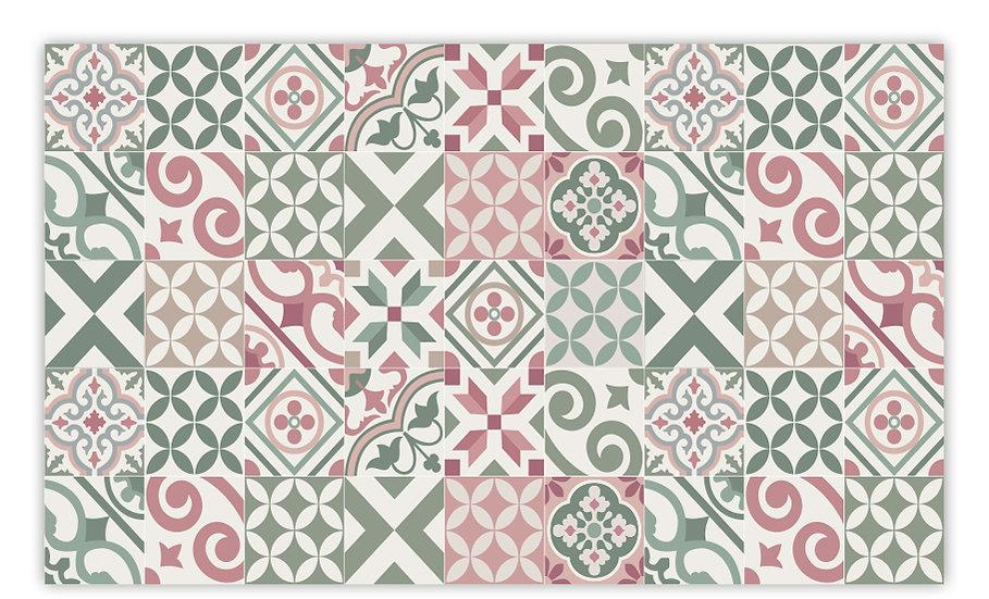 Portugal - Vinyl Floor Mat - Green and pink mix tiles pattern