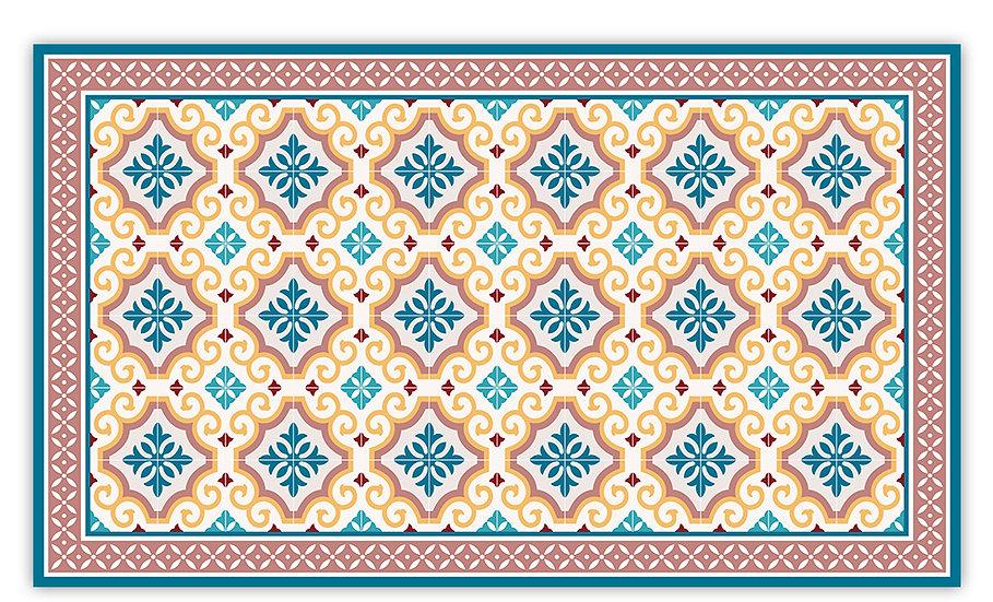 Clasico - Vinyl Floor Mat - Peach Spanish tiles pattern