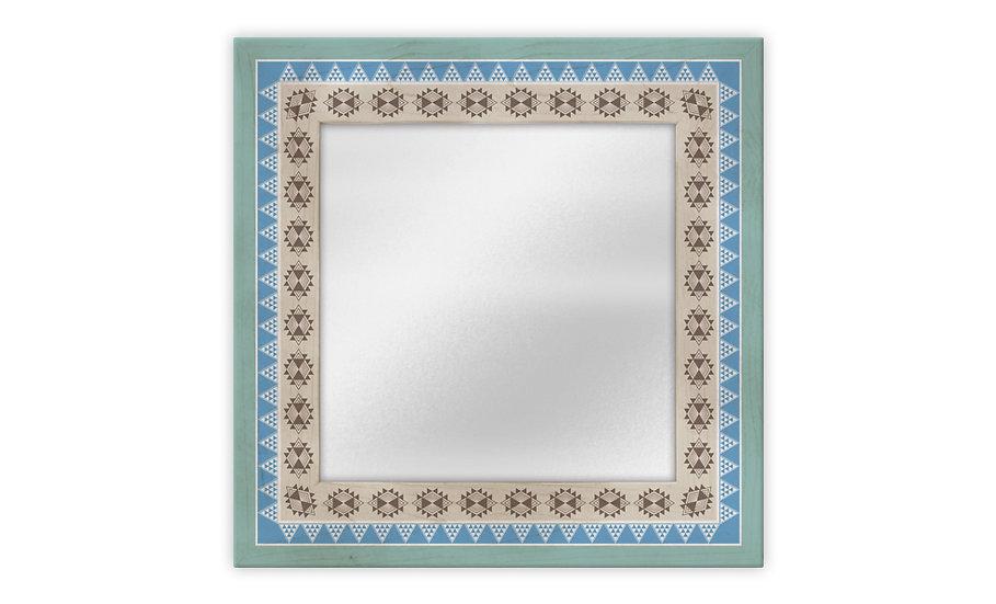 מראה מודפסת דגם אינקה טורקיז במגוון מידות