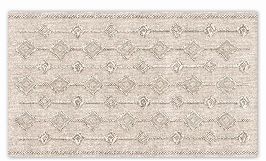 Shiraz - Vinyl Floor Mat - Embossed green and pink ethnic pattern