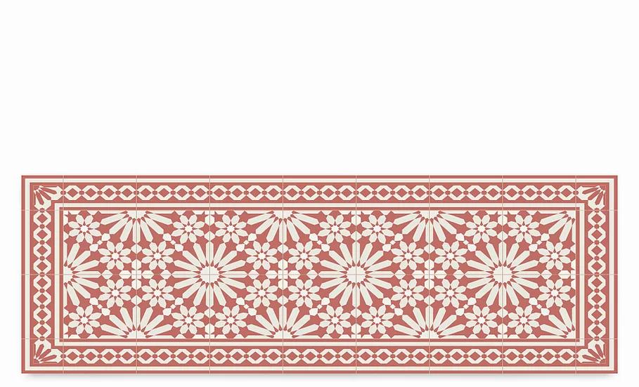 Tangier - Vinyl Table Runner - Terracotta Moroccan tiles pattern