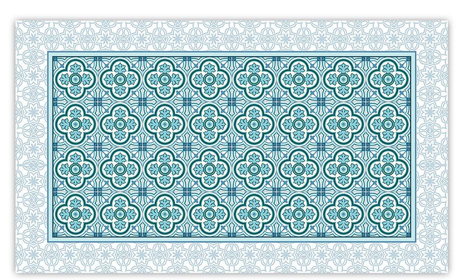 Henry - Vinyl Floor Mat - Turquoise classic tiles pattern