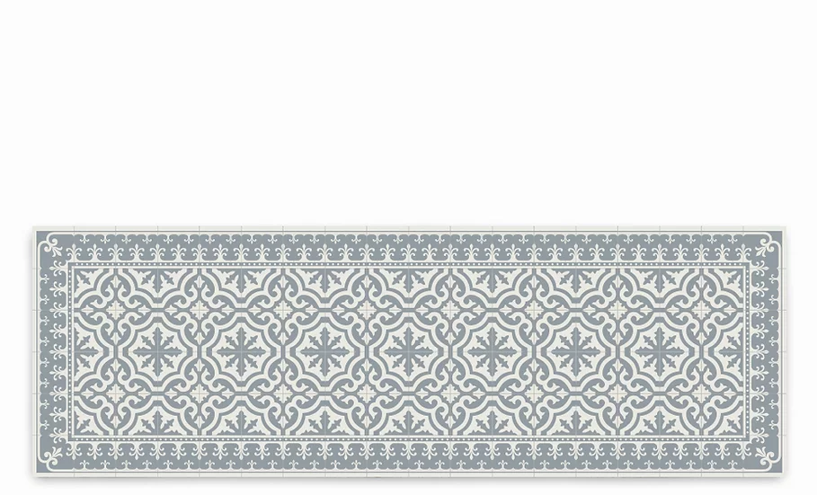 Tuscany - Vinyl Table Runner - Light gray classic tiles pattern