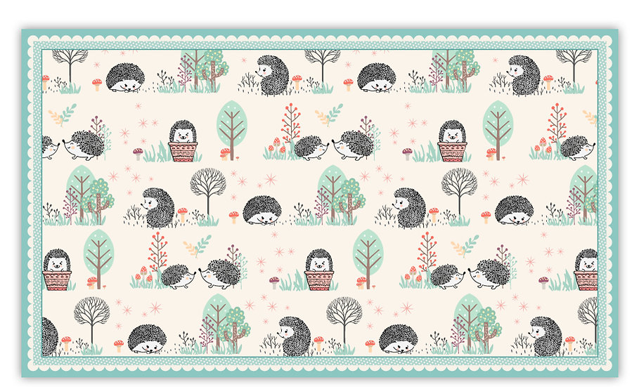 Hedgehogs - Vinyl Floor Mat - Turquoise animals theme pattern