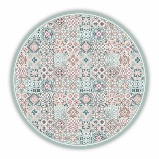 Round Retro - Vinyl Floor Mat - Turquoise mixed tiles pattern