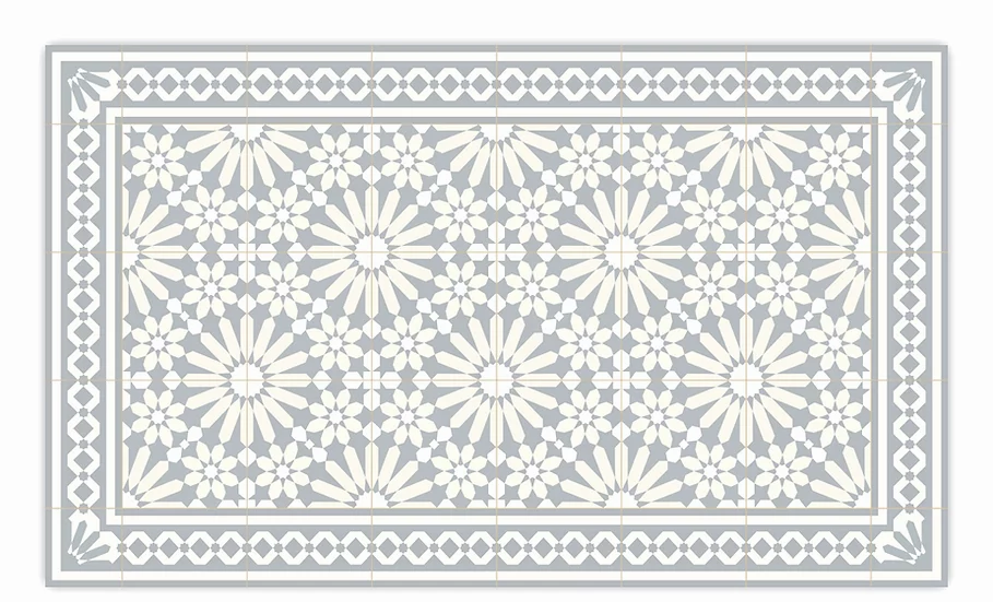 Tangier - Vinyl Floor Mat - Light gray Moroccantiles pattern