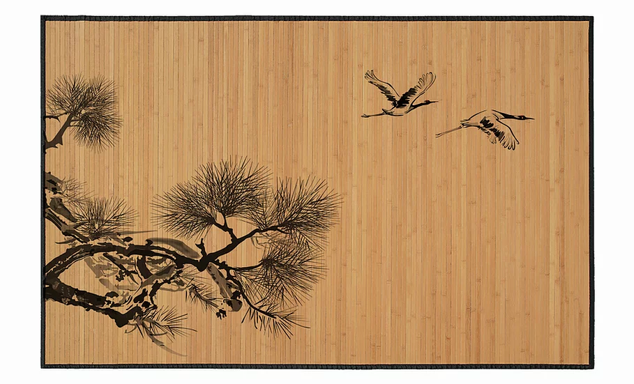 Cranes - Bamboo Mat - Natural zoological pattern