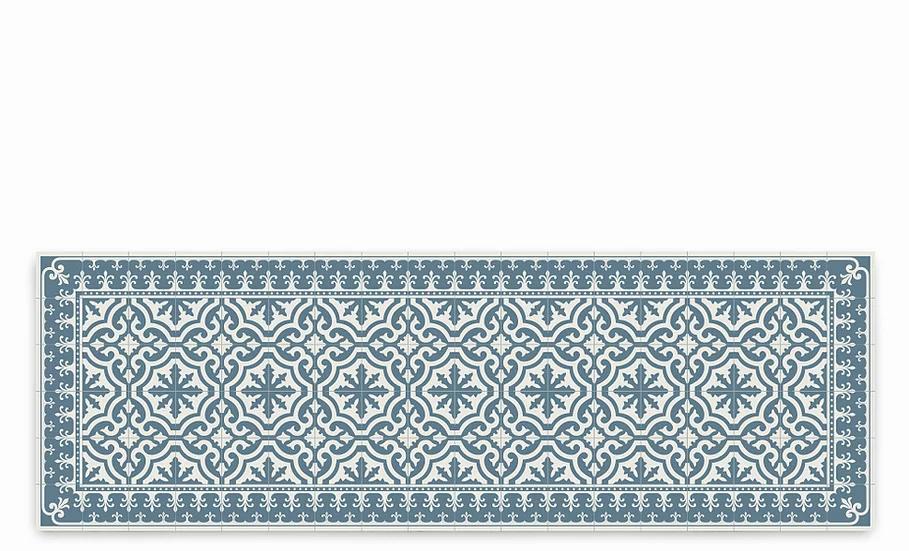 Tuscany - Vinyl Table Runner - Blue classic tiles pattern